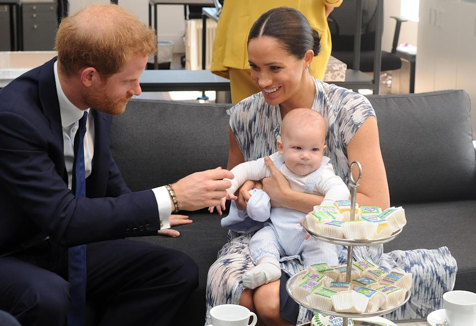Prince Harry and Meghan, the Duke and Duchess of Sussex, with their baby Archie during a meeting with Archbishop Desmond Tutu and his wife Leah in Cape Town, South Africa, September 25, 2019. / Credit: POOL/ANA
