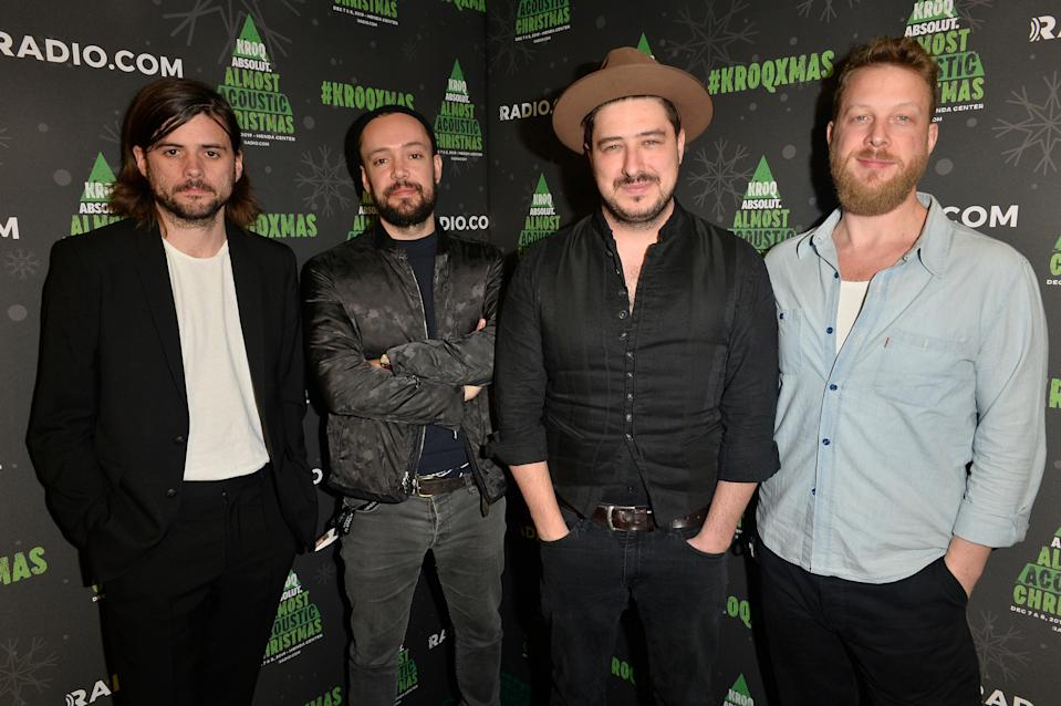 Winston Marshall, Ben Lovett, Marcus Mumford, and Ted Dwane (Getty Images for KROQ)