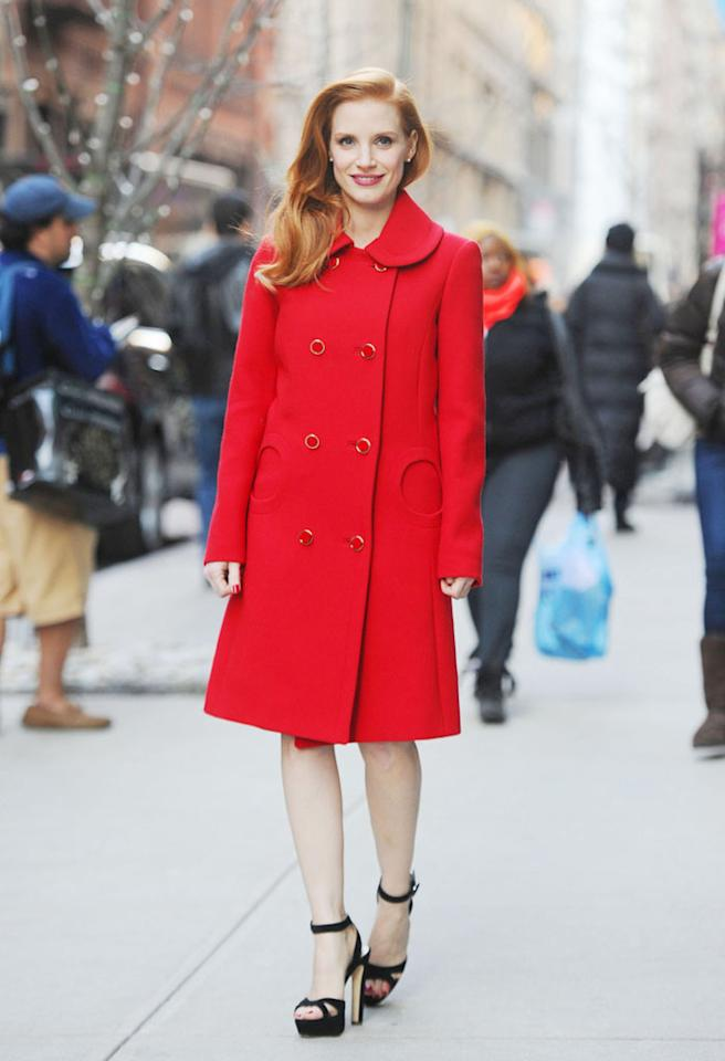 88993, NEW YORK CITY, NEW YORK- Monday January 7, 2013.  Actress Jessica Chastain stuns in red as she goes for a walk in New York City.  Photograph: © TS, PacificCoastNews.com **FEE MUST BE AGREED PRIOR TO USAGE** **E-TABLET/IPAD & MOBILE PHONE APP PUBLISHING REQUIRES ADDITIONAL FEES** LOS ANGELES OFFICE:  1 310 822 0419 LONDON OFFICE:  44 20 8090 4079