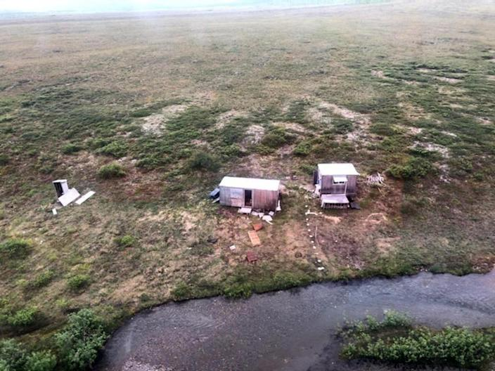 An aerial photo shows a remote mining camp near Nome, Alaska, where a U.S. Coast Guard helicopter crew rescued a survivor of a bear attack July 16, 2021. / Credit: U.S. Coast Guard
