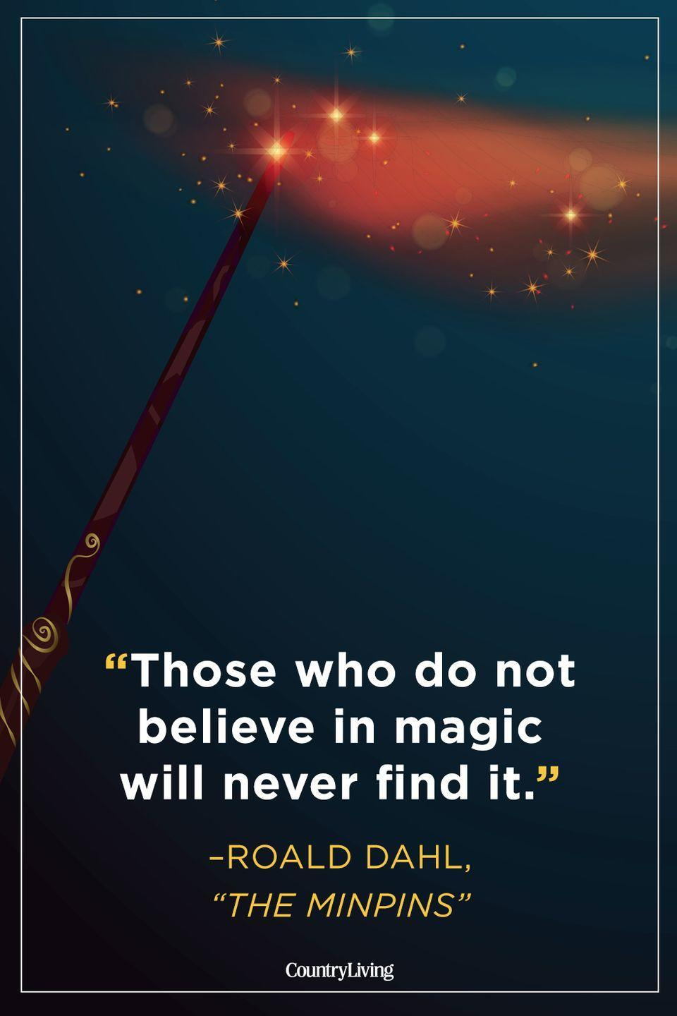 """<p>""""Those who don't believe in magic will never find it.""""</p>"""