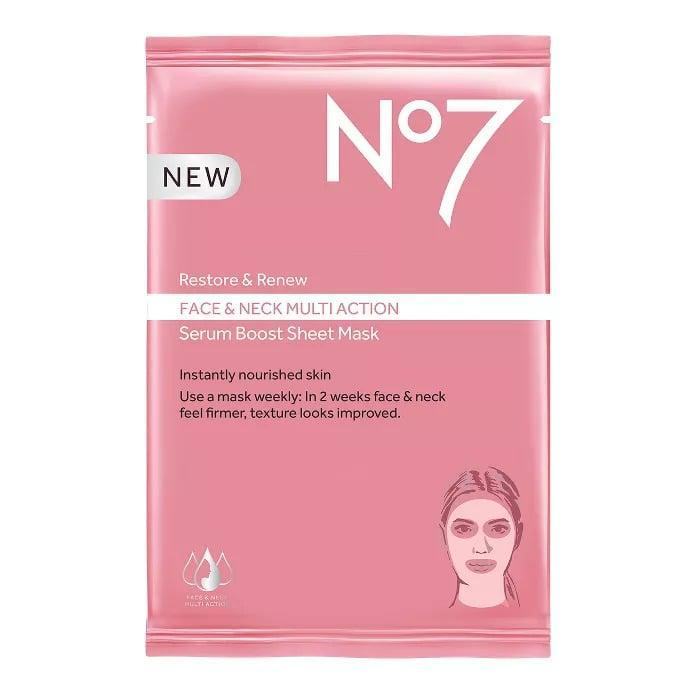 <p>Instantly nourish your skin with the <span>No7 Restore &amp; Renew Face &amp; Neck Multi Action Serum Boost Face Mask Sheet</span> ($6). It will brighten and firm your skin giving it a youthful appearance.</p>