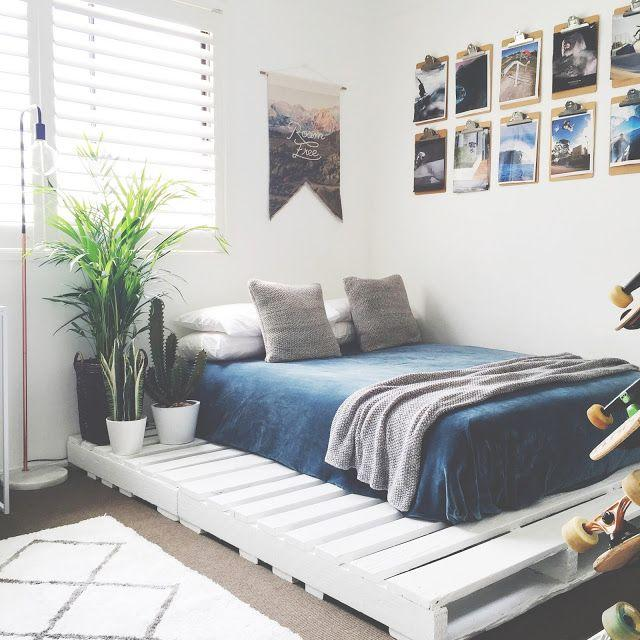 """<p>A great way to add a fresh feel to your bedroom is with a crisp white pallet platform bed. Pair it with bold pops of color for an eye-catching contrast.</p><p><strong>See the tutorial at </strong><a href=""""https://honeynfizz.blogspot.com/2016/01/teen-bedroom-finns-room-makeover-pallet.html"""" target=""""_blank""""><strong>Honey and Fizz</strong></a><strong>.</strong></p><p><a class=""""body-btn-link"""" href=""""https://www.amazon.com/Rust-Oleum-1992502-Painters-Touch-1-Quart/dp/B000BZX6TQ/ref=sr_1_6?tag=syn-yahoo-20&ascsubtag=%5Bartid%7C10050.g.31118532%5Bsrc%7Cyahoo-us"""" target=""""_blank""""><strong>SHOP WHITE PAINT</strong></a></p>"""