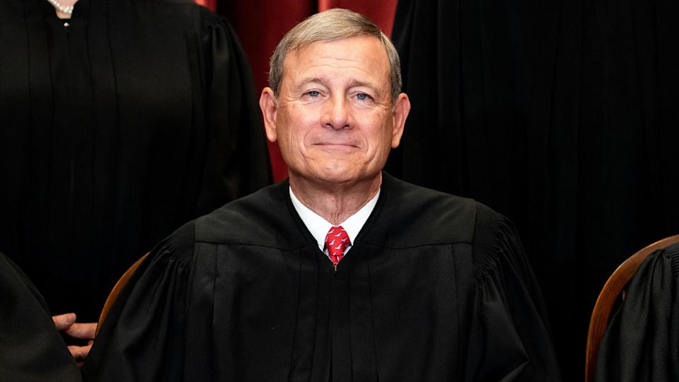 Chief Justice John Roberts sits during a group photo of the Justices at the Supreme Court in Washington, DC on April 23, 2021. (Erin Schaff/AFP via Getty Images)