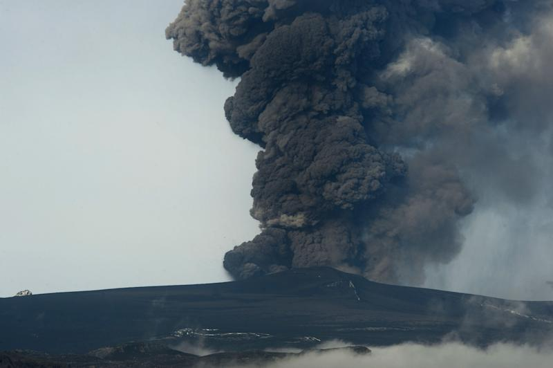 File photo shows Iceland's Eyjafjoell volcano, near Hvolsvöllur, spewing ash on May 5, 2010