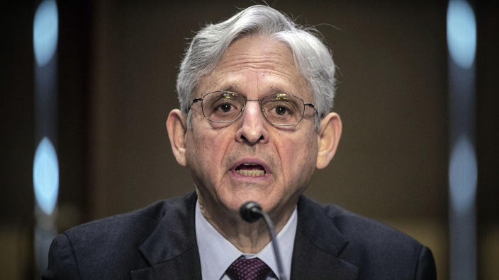 Attorney General Merrick Garland testifies before the Senate Appropriations committee hearing to examine domestic extremism, Wednesday, May 12, 2021 on Capitol Hill in Washington. (Bill O'Leary/The Washington Post/Pool via AP)