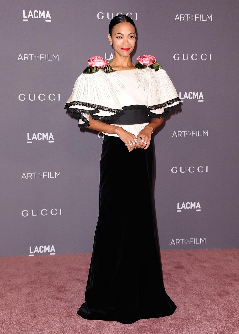 Zoe Saldana attends the 2017 LACMA Art + Film gala on Nov. 4, in Los Angeles. (Photo: Getty Images)