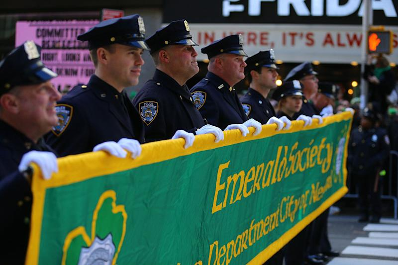 The NYPD Emerald Society Pipe and Drums march during the St. Patrick's Day Parade, March 16, 2019, in New York. (Photo: Gordon Donovan/Yahoo News)