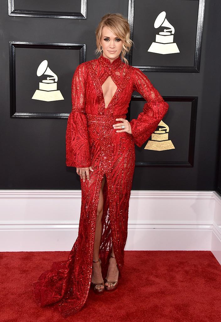 Carrie Underwood wore an embellished red gown to the 2017 Grammy Awards. (Photo: Getty Images)