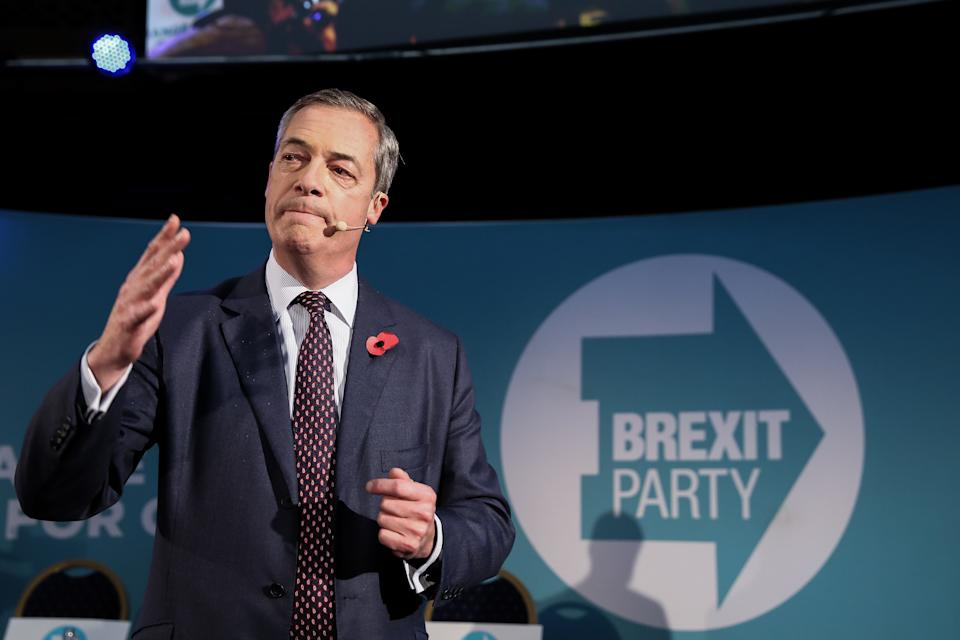 LONDON, UNITED KINGDOM - 2019/11/04: Leader of Brexit Party, Nigel Farage speaks during the party rally where the 600 Parliamentary candidates were introduced for the upcoming general election. (Photo by Steve Taylor/SOPA Images/LightRocket via Getty Images)