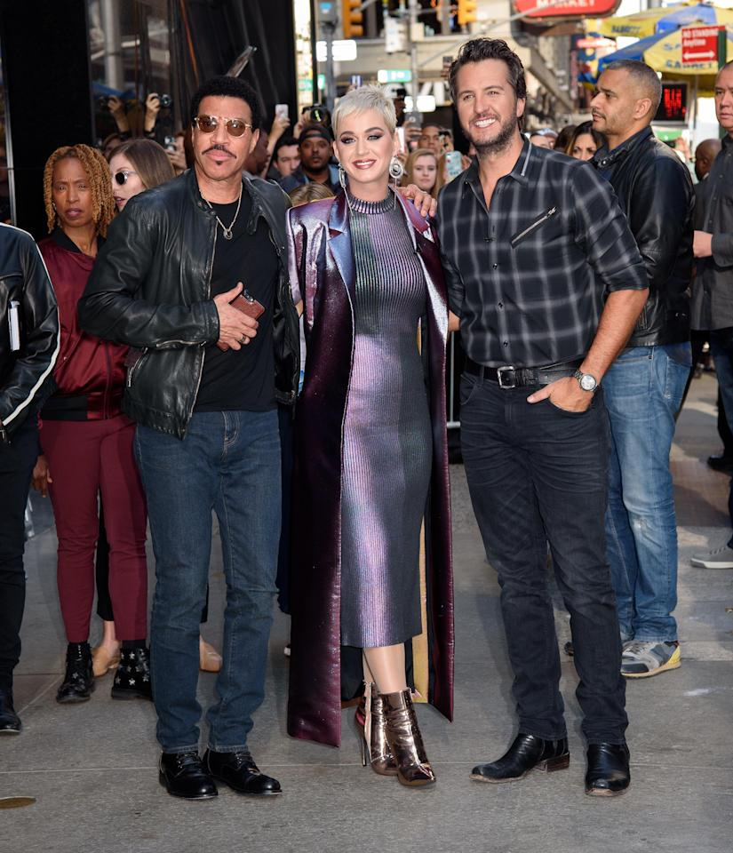 """<p>The new panel of judges for the <em>American Idol</em> reboot promoted the show ahead of its 2018 debut. """"This is the dream team,"""" Perry said during their appearance on <em>Good Morning America</em>. (Photo: Startraks) </p>"""