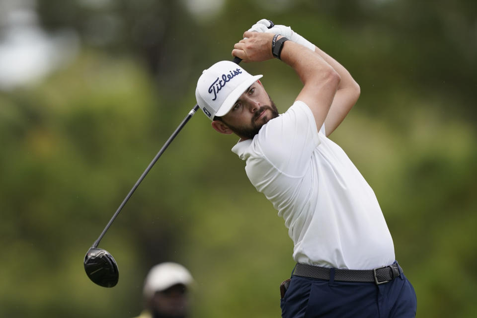 Hayden Buckley watches his drive from the second tee box during the third round of the Sanderson Farms Championship golf tournament in Jackson, Miss., Saturday, Oct. 2, 2021. (AP Photo/Rogelio V. Solis)