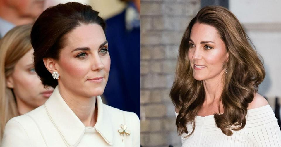 """Even <a href=""""http://www.glamour.com/about/kate-middleton?mbid=synd_yahoo_rss"""" rel=""""nofollow noopener"""" target=""""_blank"""" data-ylk=""""slk:Kate Middleton"""" class=""""link rapid-noclick-resp"""">Kate Middleton</a>, Duchess of Cambridge, couldn't resist the <a href=""""https://www.glamour.com/gallery/best-spring-hair-color-ideas?mbid=synd_yahoo_rss"""" rel=""""nofollow noopener"""" target=""""_blank"""" data-ylk=""""slk:honey blond"""" class=""""link rapid-noclick-resp"""">honey blond</a> shade that trended in 2019. She stepped out mid-June with new highlights (and, obviously, a super-shiny blowout), changing up her signature dark brown for a lighter, warmer, more multidimensional look."""