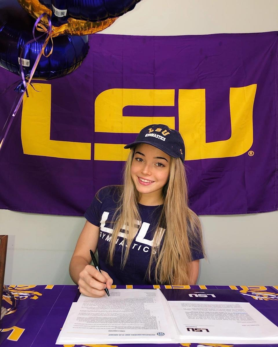 Hillsdale native Olivia Dunne signed her letter of intent to compete for LSU gymnastics last week.
