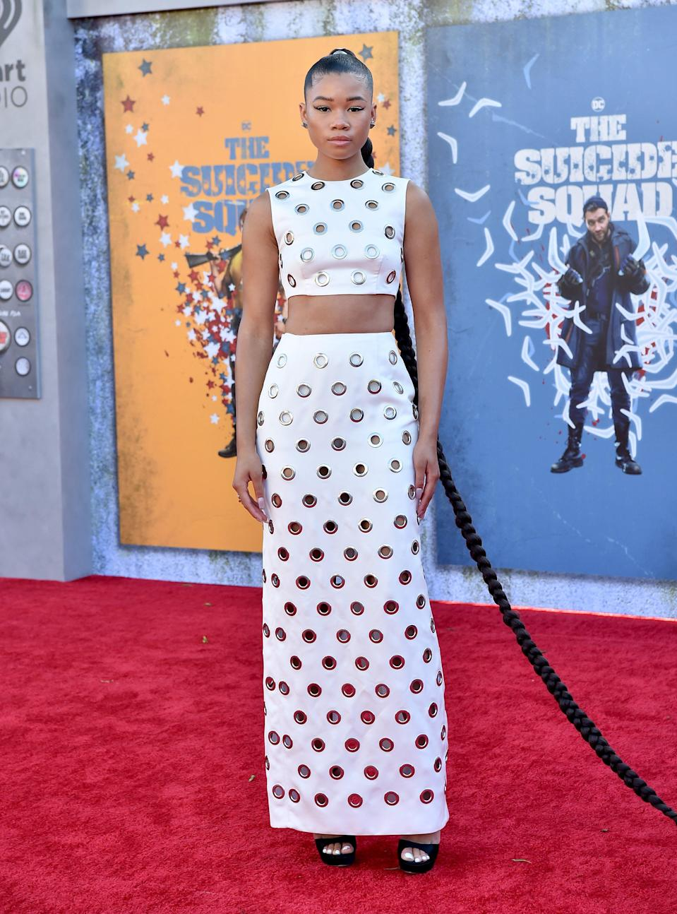 Storm Reid Is Edgy in a Peekaboo Prada Crop Top & Skirt With Towering Platforms at 'Suicide Squad' Premiere