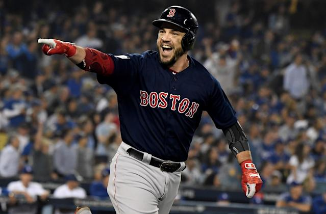 2018 World Series MVP Steve Pearce is returning to the Boston Red Sox on a one-year deal. (Getty Images)