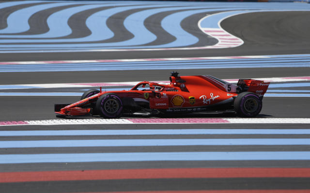 Ferrari driver Sebastian Vettel of Germany steers his car during the first free practice at the Paul Ricard racetrack, in Le Castellet, southern France, Friday, June 22, 2018. The Formula one race will be held on Sunday. (AP Photo/Claude Paris)