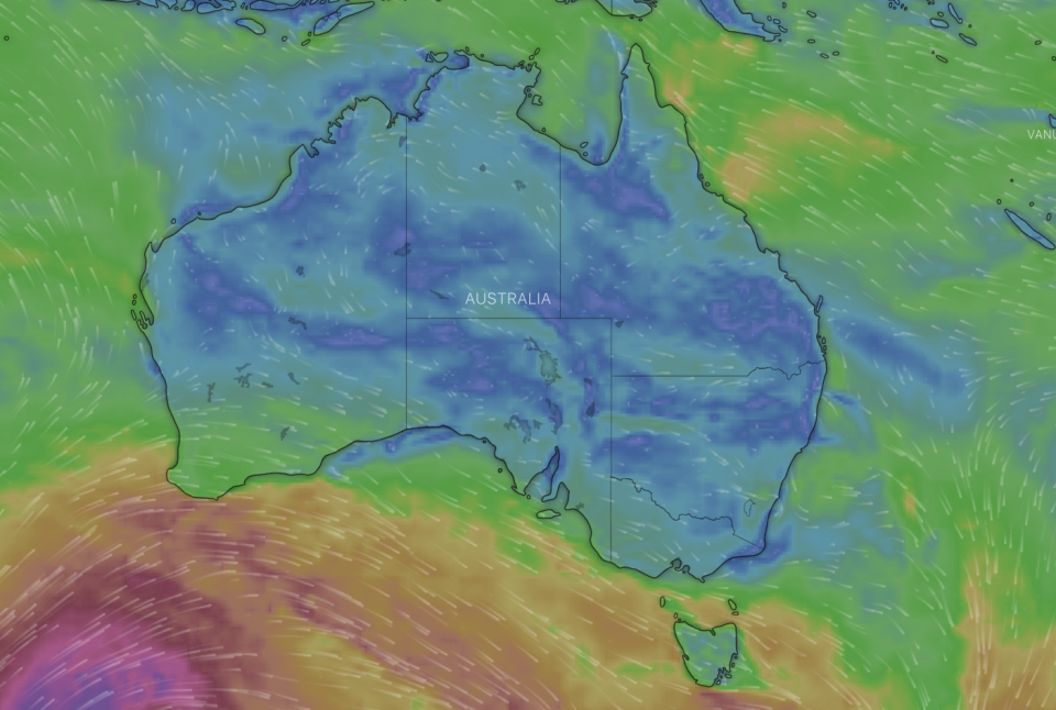 A cold front will move from Western Australia, across most of the country, concentrated in the south. Source: Windy.com