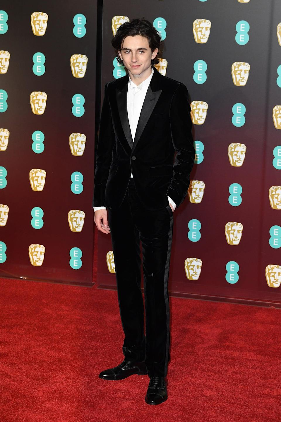 "<h2>Saint Laurent</h2> Timothée Chalamet doesn't know how to do anything the traditional way. Case in point: his choice of a velvet tux while everyone else plays it safe in, <em>well</em>, not velvet.<br><span class=""copyright"">Photo: Jeff Spicer/Getty Images.</span>"