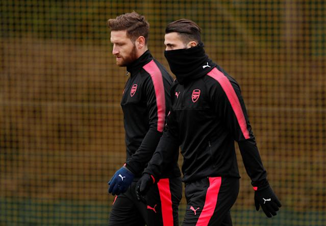 Soccer Football - Europa League - Arsenal Training - Arsenal Training Centre, St Albans, Britain - February 14, 2018 Arsenal's Sead Kolasinac and Shkodran Mustafi during training Action Images via Reuters/Peter Cziborra