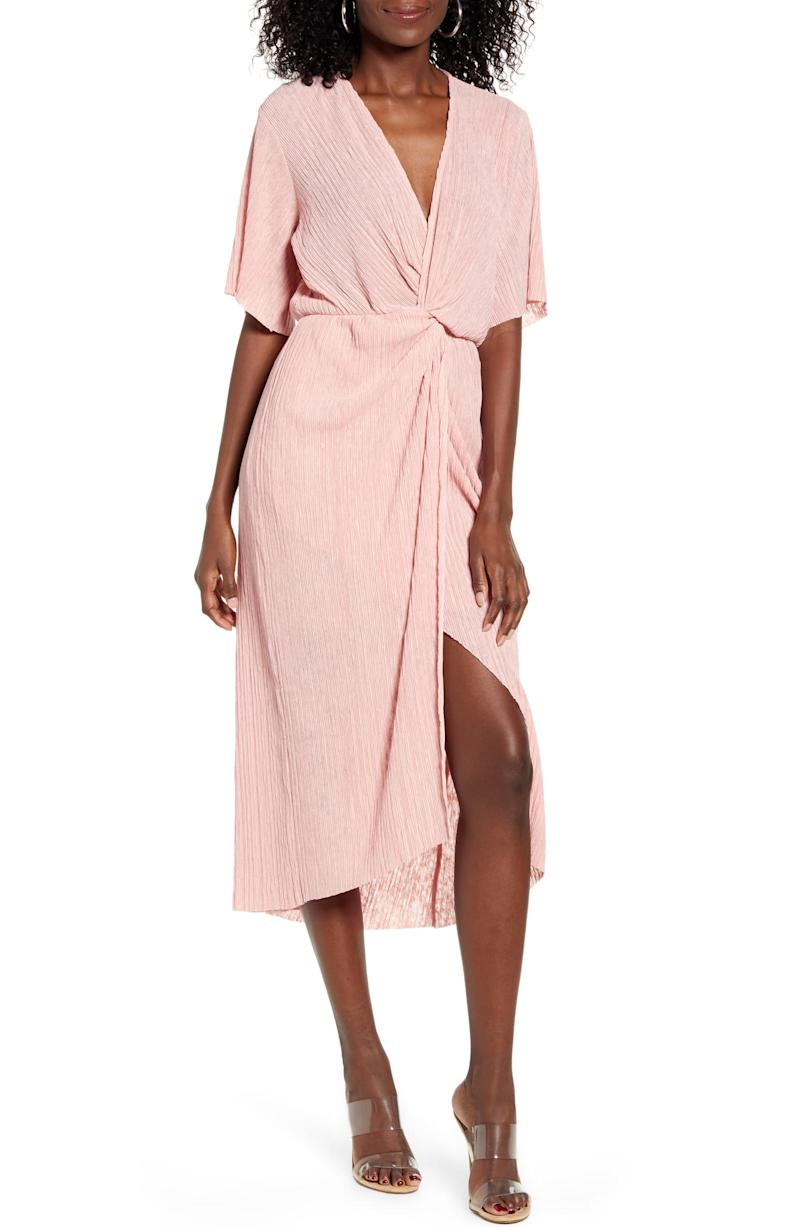All In Favor Dolman Plissé Midi Dress. Image via Nordstrom.