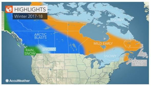 AccuWeather predicts cold weather trends across Canada.