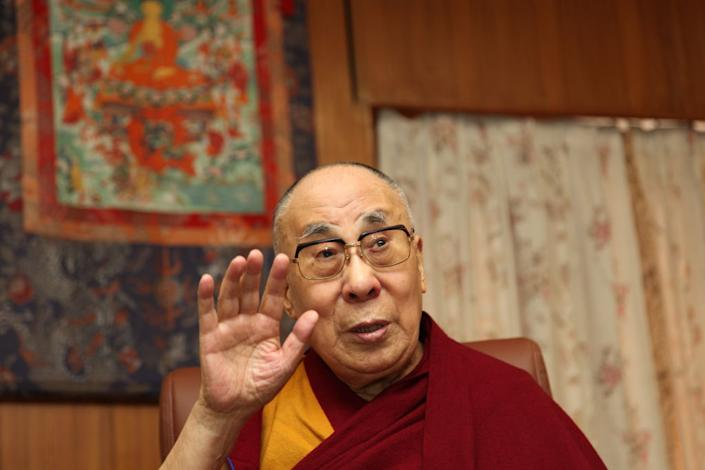 MCLEOD GANJ, DHARAMSHALA, HIMACHAL PRADESH, INDIA. MARCH 20, 2019. The fourteenth Dalai Lama (83 years) and the spiritual guru of the Buddhists from Tibet. In 1959 Mr Tenzin Gyatso which is his real name fled to India after the Chinese invasion of Tibet and since he has been living as a guest of India in Mcleod Ganj near Dharamshala. In good health and spirits he sits in his office and often laughs like a child when engaging in conversations. (Photo by Pallava Bagla/Corbis via Getty Images)