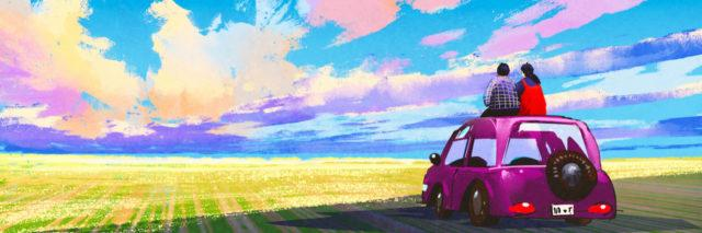 Illustration of couple on top of car looking at colorful landscape