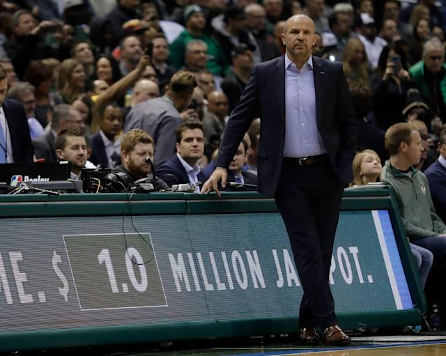 Former Milwaukee Bucks head coach Jason Kidd is interviewing with the Lakers. (AP Photo/Morry Gash)