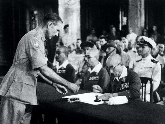 A ceremony marking the surrender of the Japanese Imperial Army handed back Singapore to the Allies