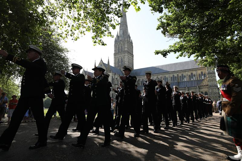 Royal Navy personnel on the march through Salisbury city centre (Picture: PA)