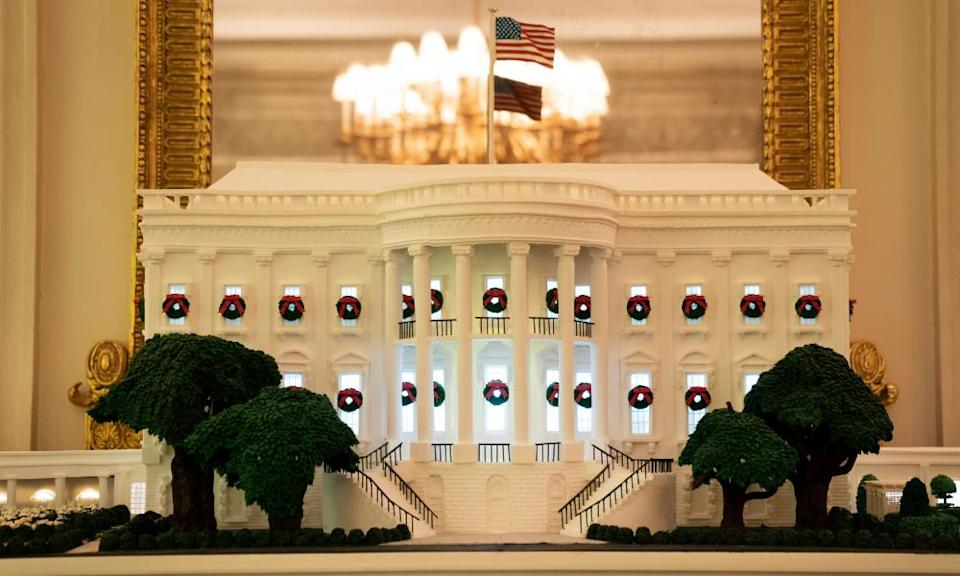 A White House gingerbread house is displayed in the State Dining Room of the White House on November 30, 2020 in Washington, DC.
