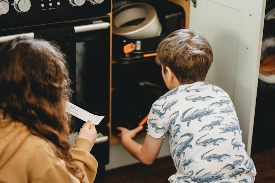 """<p>One-up in-home trick-or-treating with a Halloween-themed scavenger hunt. Write out clues and place them all around the house, starting your kids off with the first clue that eventually leads up to a grand prize at the end. The prize could be candy, another fun treat, a new <a href=""""https://www.popsugar.com/family/halloween-books-for-kids-46708408"""" class=""""link rapid-noclick-resp"""" rel=""""nofollow noopener"""" target=""""_blank"""" data-ylk=""""slk:Halloween book"""">Halloween book</a>, or anything else that your kids would enjoy.</p>"""