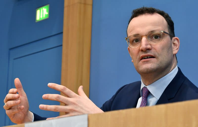 FILE PHOTO: German Health Minister Jens Spahn addresses a news conference on coronavirus in Berlin