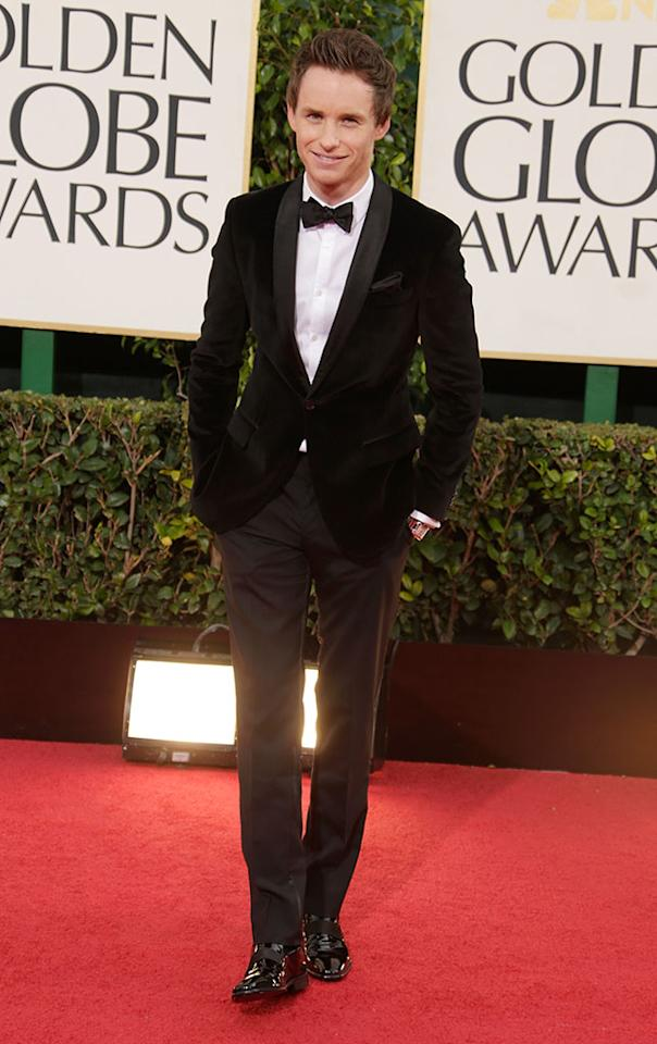 Eddie Redmayne arrives at the 70th Annual Golden Globe Awards at the Beverly Hilton in Beverly Hills, CA on January 13, 2013.