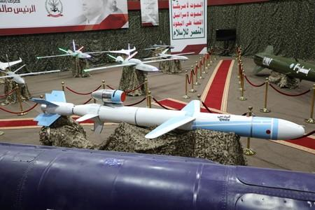 Missiles and drone aircrafts are seen on display at an exhibition at an unidentified location in Yemen in this undated handout photo released by the Houthi Media Office