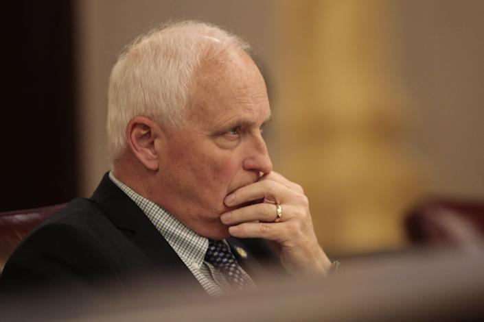 Committee Chair Ohio State Sen. Terry Johnson (R-McDermott) listens during testimony in support of an anti-hazing bill from the parents of Stone Foltz, a former Bowling Green State University student who died in March 2021 at a fraternity event as a result of alcohol poisoning, during the Ohio Senate Workforce and Higher Education Committee on Wednesday, May 26, 2021 at the Ohio Statehouse in Columbus, Ohio. During the hearing, senators heard testimony in support of Ohio Senate Bill 126, an anti-hazing bill referred to as Collin's Law, named after former Ohio University student Collin Wiant, who died after a fraternity hazing ritual in 2018. The bill would increase penalties for hazing from a misdemeanor to a felony in Ohio.