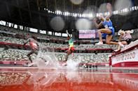 The men's 3000m steeplechase heats are held at the Olympic Stadium in Tokyo