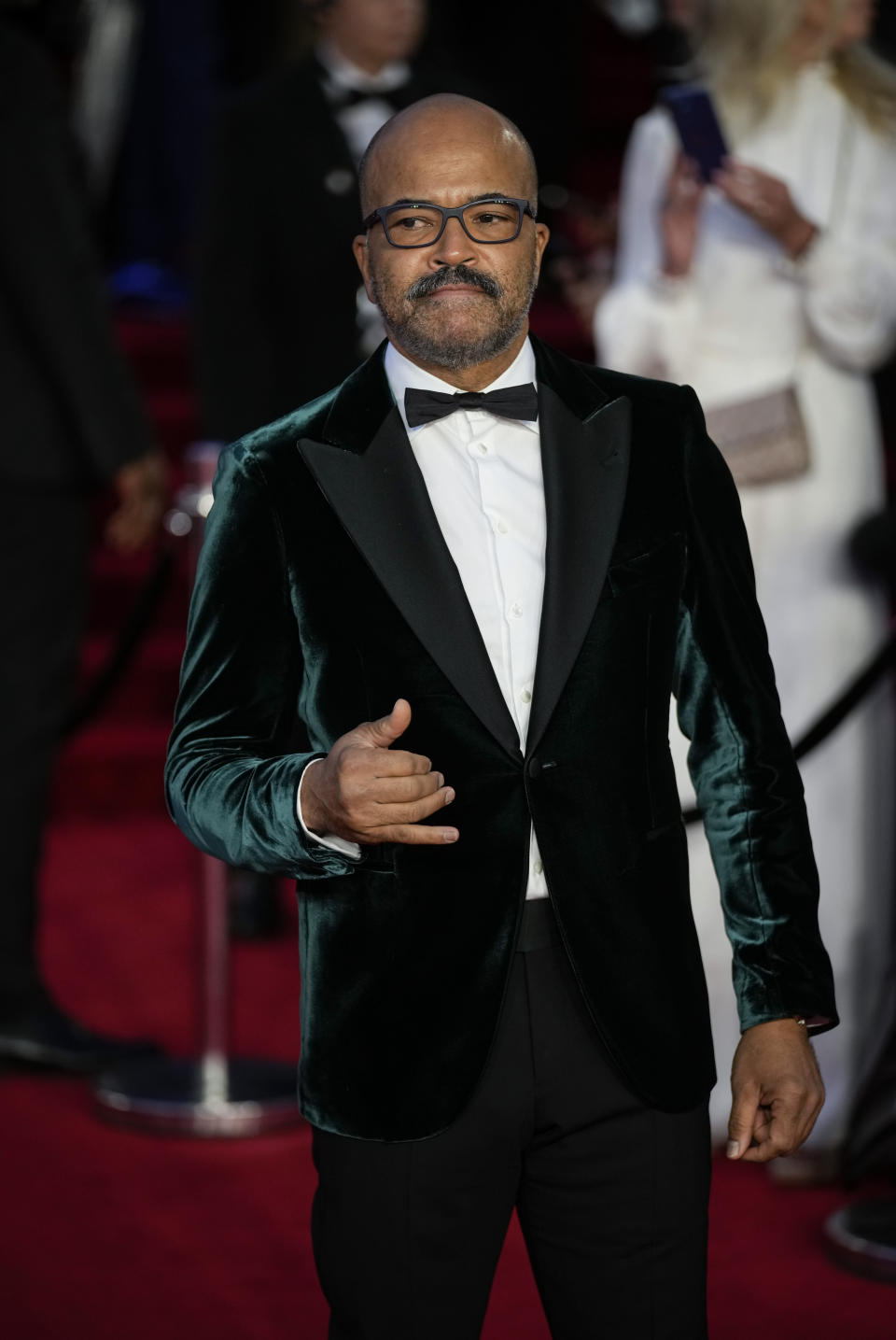 Jeffrey Wright poses for photographers upon arrival for the World premiere of the new film from the James Bond franchise 'No Time To Die', in London Tuesday, Sept. 28, 2021. (AP Photo/Matt Dunham)
