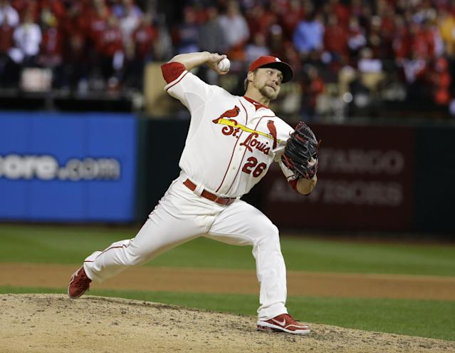 St. Louis Cardinals relief pitcher Trevor Rosenthal throws during the eighth inning of Game 3 of baseball's World Series against the Boston Red Sox Saturday, Oct. 26, 2013, in St. Louis. (AP Photo/Matt Slocum)