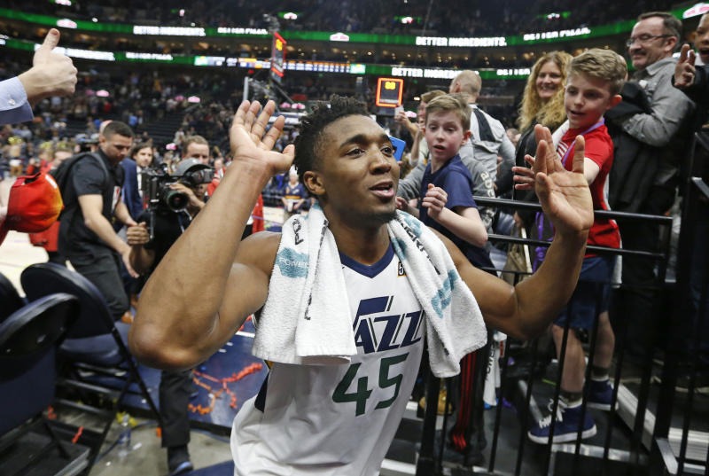 Donovan Mitchell and the Jazz will come out of the All-Star break with the NBA's longest winning streak, and their sights set on the postseason. (AP)