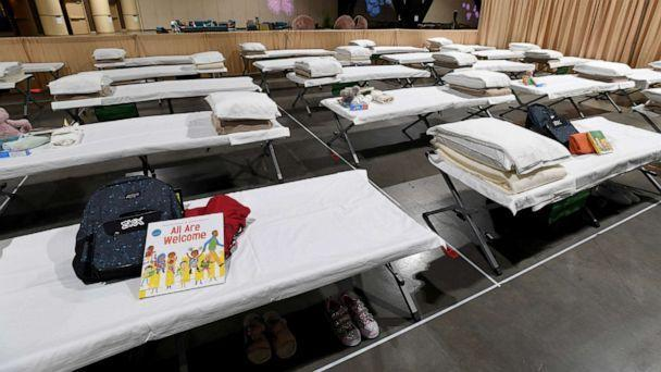 PHOTO:  Sleeping quarters set up inside Exhibit Hall B for migrant children are shown during a tour of the Long Beach Convention Center on April 22, 2021 in in Long Beach, Calif. (Pool/Getty Images, FILE)