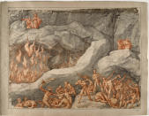 """This image made available on Thursday, Dec. 31, 2020, shows Ulisse and Diomede, the fraudulent advisors, one of the original 88 drawings that went with Dante Alighieri's Divine Comedy by artist Federico Zuccari. Florence's Uffizi Gallery is making available for viewing online 88 rarely displayed drawings of Dante's Divine Comedy to mark the 700th anniversary in 2021 of the famed Italian poet's death. The virtual show of high-resolution images of works by the 16th Century Renaissance artist Federico Zuccari will be accessible from Friday """"for free, any hour of the day, for everyone,'' said Uffizi director Eike Schmidt. (Roberto Palermo/Uffizi Gallery via AP)"""