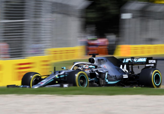 Mercedes driver Lewis Hamilton of Britain turns a corner during the first practice session of the Australian Grand Prix in Melbourne, Australia, Friday, March 15, 2019. The first race of the year is Sunday. (AP Photo/Andy Brownbill)