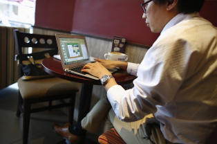 Computer searching in a coffee shop