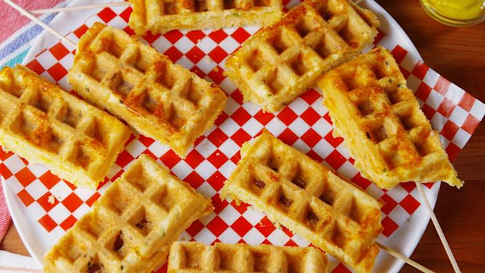 """<p>That neglected kitchen gadget is the key to all kinds of wonderful. Plus, try our <span>50 best waffle recipes</span> and check out <a rel=""""nofollow noopener"""" href=""""http://www.delish.com/kitchen-tools/g4445/best-waffle-iron/"""" target=""""_blank"""" data-ylk=""""slk:our fave waffle irons"""" class=""""link rapid-noclick-resp"""">our fave waffle irons</a>!</p>"""