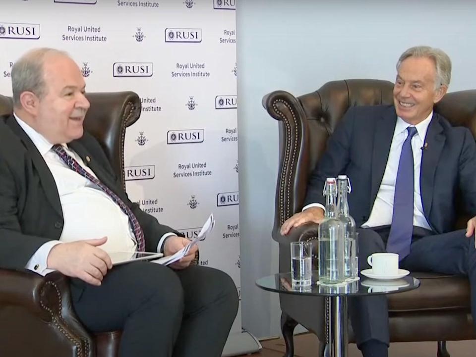 Blair speaks to Jonathan Eyal of the RUSI (YouTube/The Independent)