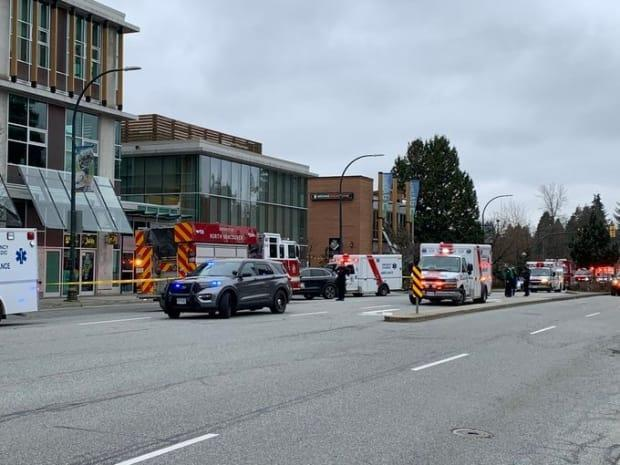 Emergency responders are seen at the Lynn Valley public library in North Vancouver.