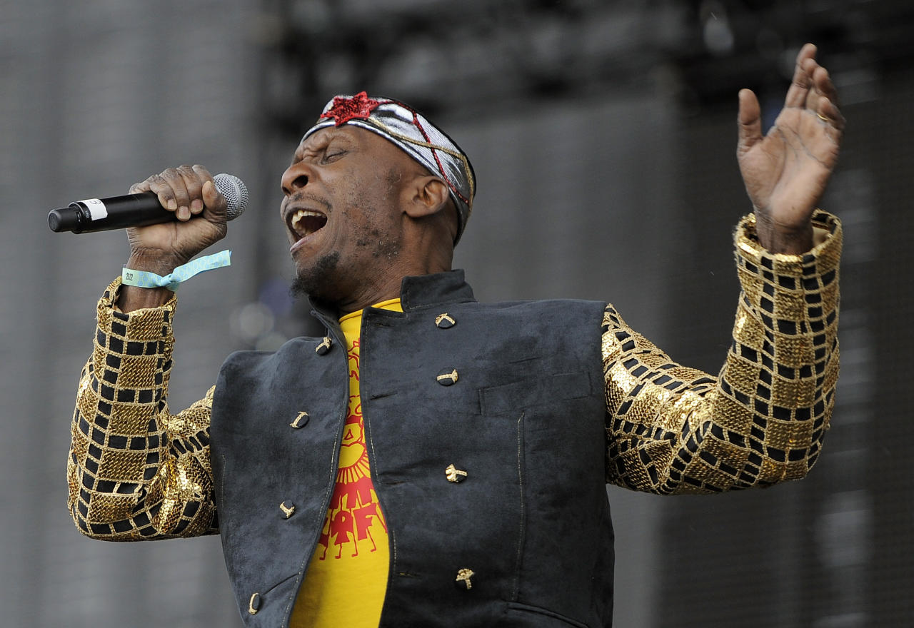Reggae legend Jimmy Cliff performs during the first weekend of the 2012 Coachella Valley Music and Arts Festival, Friday, April 13, 2012, in Indio, Calif. (AP Photo/Chris Pizzello)
