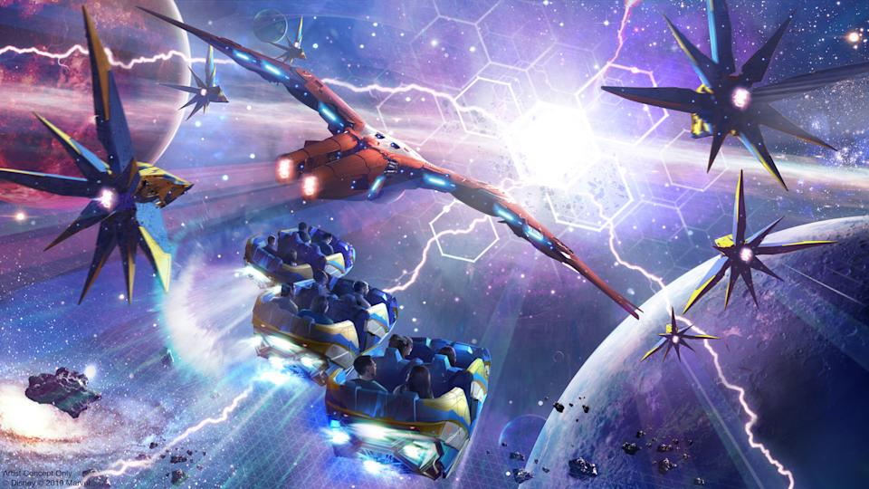 "Guardians of the Galaxy: Cosmic Rewind will be the first ""other-world"" showcase pavilion at Epcot. The attraction will feature a new storytelling coaster that rotates to focus guests on the action, and will include the first reverse launch on a Disney coaster. (Disney/Marvel)"